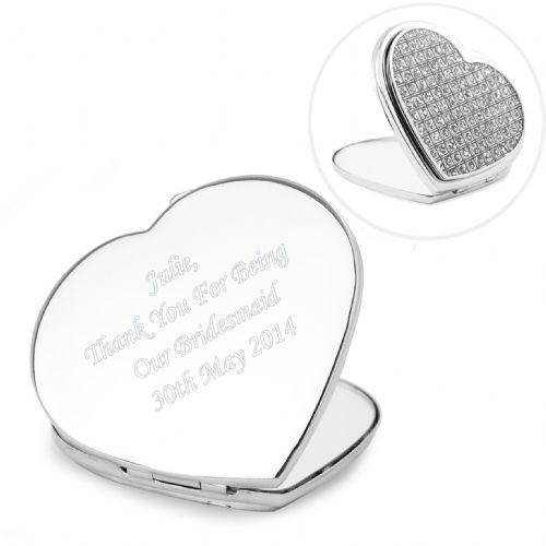 Personalised Diamante Heart Compact